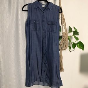 Levi's chambray sleeveless shirt dress